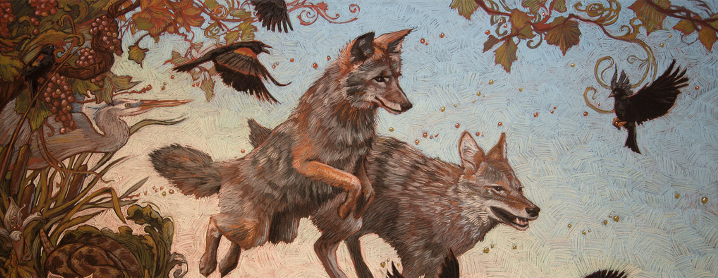 painting of wolves running